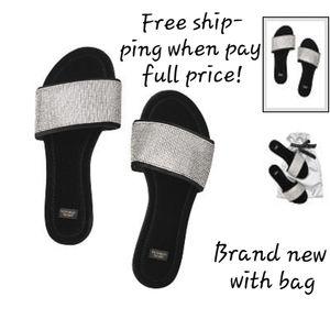 Victoria's Secret  black slippers rhinestoned